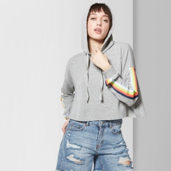 Wild Fable Hoodie Crop Top Stripes Retro Pullover